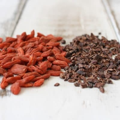 """Bite"" of the month- Raw Cacao Nibs and Dried Gogi Berries!"
