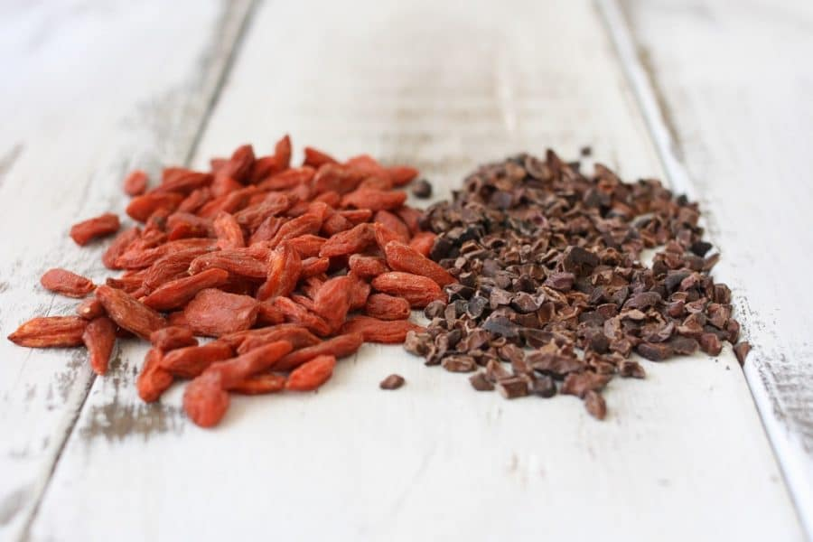 Cacao nibs and dried gogi berries