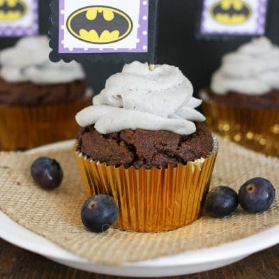 Dark Chocolate Zucchini Cupcakes with Whipped Frosting…A Very Batman Birthday