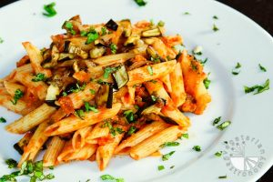 caramelized onion, roasted eggplant and tomato penne pasta