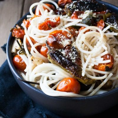Spaghetti with Charred Tomatoes and Shishito Peppers
