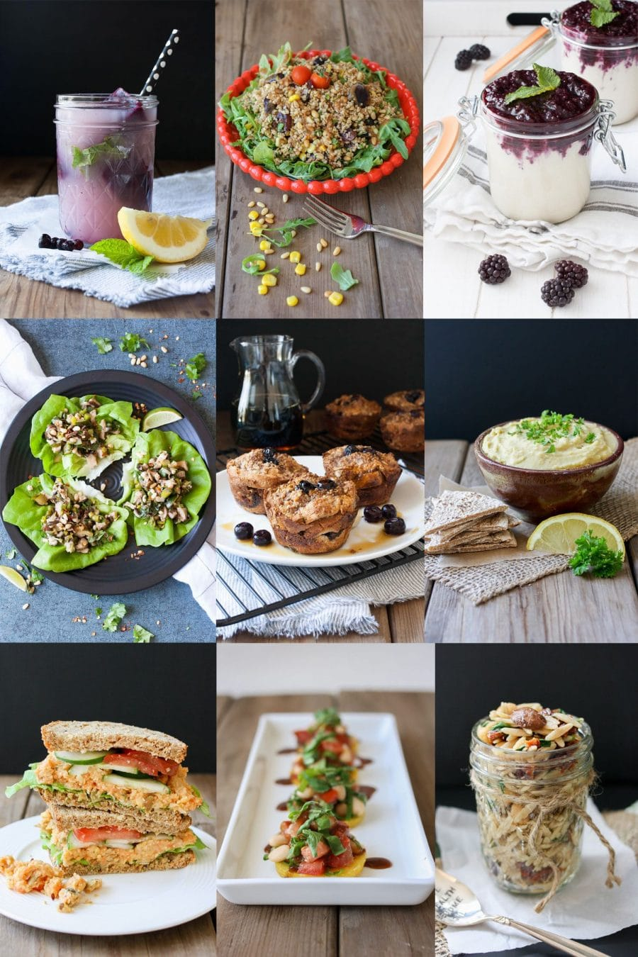 A collage of vegan Easter appetizer, drink, lunch, salad and drink recipes