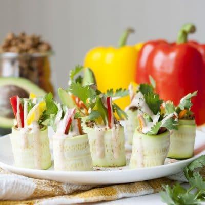 "Raw Mexican Zucchini Roll Ups with Veggie Walnut ""Meat"""