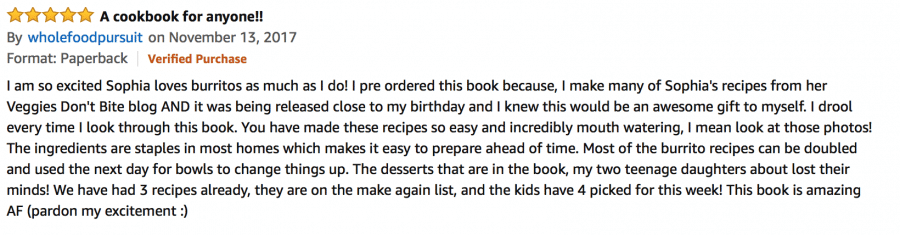Amazon review of the cookbook vegan burgers and burritos
