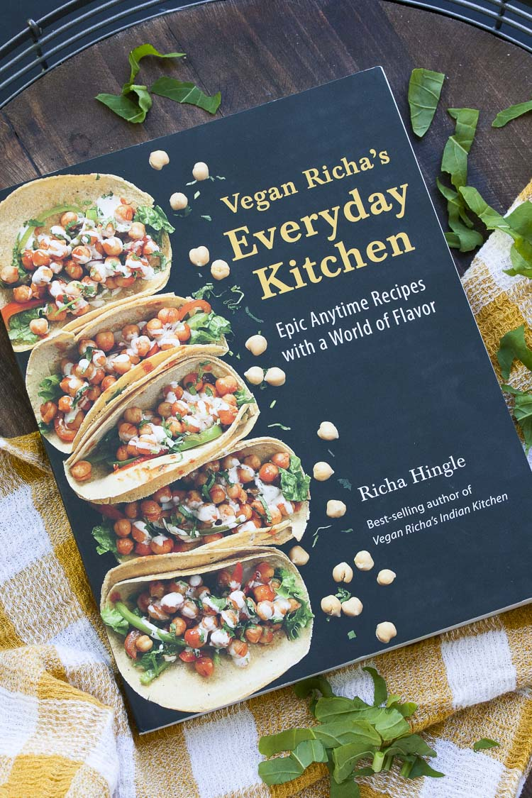 Cover for Vegan Richa's Everyday Kitchen Cookbook with tacos on it